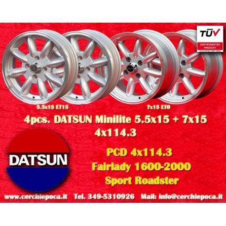 4 pcs. Datsun Minilite  2 pcs. 5.5x15 ET15 + 2 pcs. 7x15 ET0 4x114.3 wheels