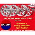 4 pcs. jantes Datsun Minilite  2 pcs. 5.5x15 ET15 + 2 pcs. 7x15 ET0 4x114.3