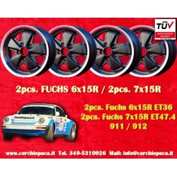 4 pcs. Fuchs Porsche 911R Small Body 2 pcs. 6x15 ET36 + 2 pcs. 7x15 ET47.4 Deep Six Matt Black
