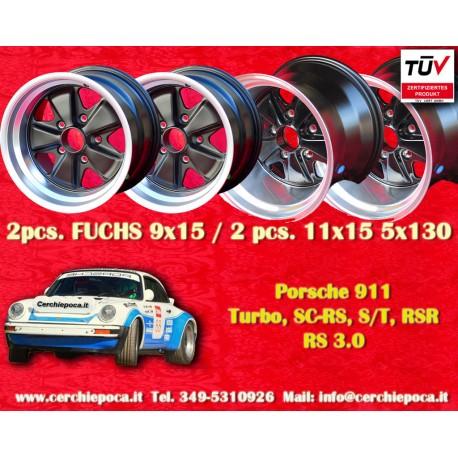 4 pcs. Porsche 911 2 pcs. 9x15 ET15 + 2 pcs. 11x15  ET-27 PCD 5x130 Black