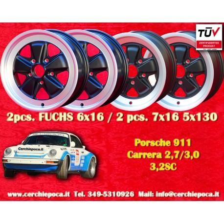 1 set 4 pcs. Porsche 911 Fuchs 2 pcs. 6x16 ET36 + 2 pcs. 7x16 ET23.3 PCD 5x130 Black