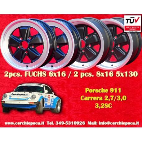 1 set 4 pcs. Porsche 911 Fuchs 2 pcs. 6x16 ET36 + 2 pcs. 8x16 ET10.6 PCD 5x130 Black