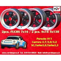 4 pcs. Porsche 911 Fuchs 2 pcs. 7x16 ET23.3 + 2 pcs. 8x16 ET10.6 PCD 5x130 Black