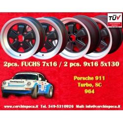 4 pcs. Porsche 911 Fuchs 2 pcs. 7x16 ET23.3 + 2 pcs. 9x16 ET15 PCD 5x130 Black