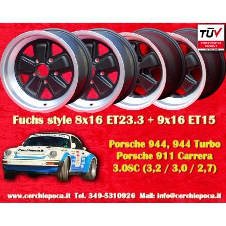 4 pcs. Porsche 911 Fuchs 2 pcs. 8x16 ET23.3 + 2 pcs. 9x16 ET15 PCD 5x130 Black
