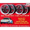 4 pcs. Porsche 911 Fuchs 2 pcs. 7x17 ET23.3 + 2 pcs. 8x17 ET10.6 PCD 5x130 Black