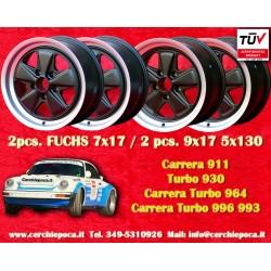 4 pcs. Porsche 911 Fuchs 2 pcs. 7x17 ET23.3 + 2 pcs. 9x17 ET15 PCD 5x130 Black