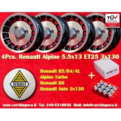4 Pieces Renault Turbo Alpine wheels 5.5x13 with FREE NUTS
