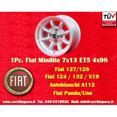 1 pz. llanta Fiat Minilite 7x13 ET5 4x98