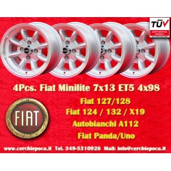 4 pcs. cerchi Fiat Minilite 7x13 ET5 4x98