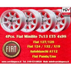 4 pcs. jantes Fiat Minilite 7x13 ET5 4x98