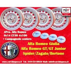 4 uds llantas Llantas Alfa Romeo 6x14 ET30 4x108 Incluye tacos centrales Campagnolo