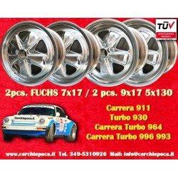 4 pcs. Porsche 911 Fuchs 2 pcs. 7x17 ET23.3 + 2 pcs. 9x17 ET15 PCD 5x130 full polished finish wheels
