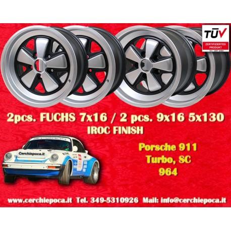 4 pcs. Porsche 911 Fuchs 2 pcs. 7x17 ET23.3 + 2 pcs. 9x17 ET15 PCD 5x130 IROC style (Eloxierte)
