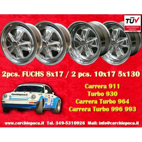 4 pcs. Porsche 911 Fuchs 2 pcs. 8x17 ET10.6 + 2 pcs. 10x17 ET-27 PCD 5x130 acabado pulido