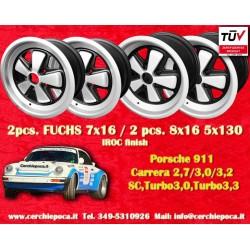 4 pcs. Porsche 911 Fuchs 2 pcs. 7x17 ET23.3 + 2 pcs. 8x17 ET10.6 PCD 5x130 IROC Style anodizzato