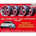 4 pcs. Porsche 911 Fuchs 2 pcs. 7x16 ET23.3 + 2 pcs. 8x16 ET10.6 PCD 5x130 BlacRSR style wheels