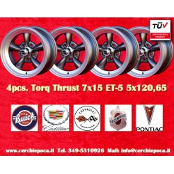 4 pcs.  Torq Thrust style 7x15 ET-5 5x120.65 wheels anthracite