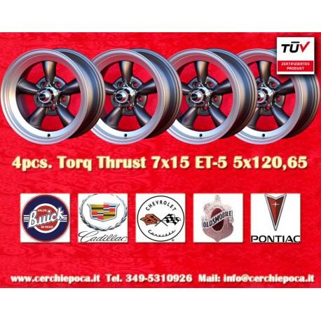 4 pcs.  Torq Thrust style 7x15 ET-5 5x120.65 wheels anthracite