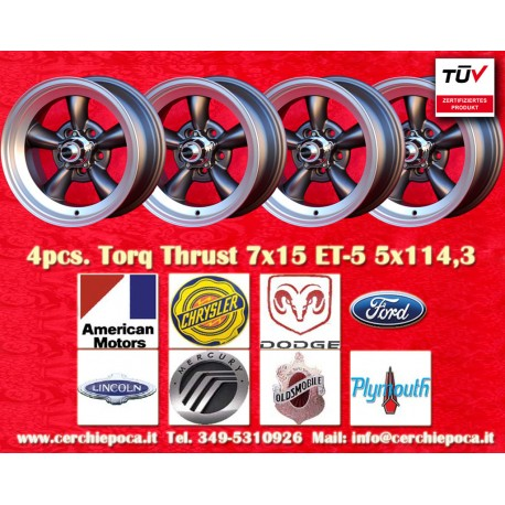 4 pcs.  Torq Thrust style 7x15 ET-5 5x114.3 wheels