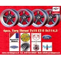 4 pcs.  Torq Thrust style 7x15 ET-5 5x11.3 wheels anthracite finish