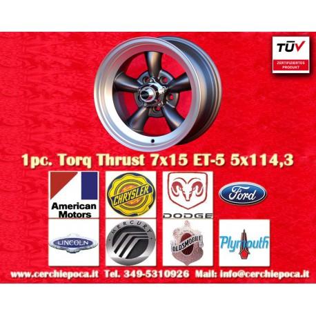 1 Stk. Felge Torq Thrust style 7x15 ET-5 5x114.3 Anthrazit/poliert