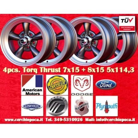 4 pcs.  Torq Thrust style 2 pcs. 7x15 ET-5 + 2 pcs. 8x15 ET0  5x114.3 wheels anthracite polished