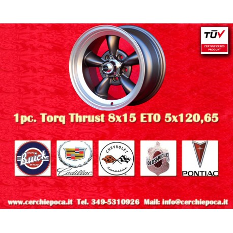 1 pc.  Torq Thrust style 8x15 ET0 5x120.6 wheel anthracite finish