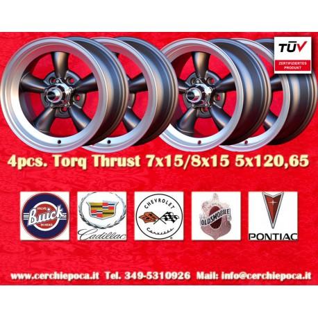 4 pcs.  Torq Thrust style 2 pcs. 7x15 ET-5 + 2 pcs. 8x15 ET0  5x120.65 wheels