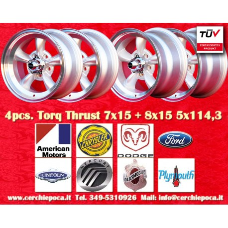 4 pcs.  Torq Thrust style 2 pcs. 7x15 ET-5 + 2 pcs. 8x15 ET0  5x114.3 wheels