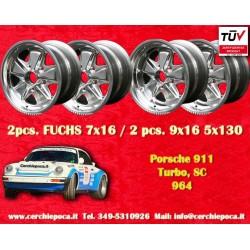 4 pcs. Porsche 911 Fuchs 2 pcs. 7x16 ET23.3 + 2 pcs. 9x16 ET15 PCD 5x130 polished