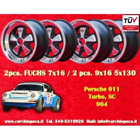 4 pcs. Porsche 911 Fuchs 2 pcs. 7x16 ET23.3 + 2 pcs. 9x16 ET15 PCD 5x130 polished wheels