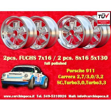 4 pcs. Porsche 911 Fuchs 2 pcs. 7x16 ET23.3 + 2 pcs. 8x16 ET10.6 PCD 5x130 polished wheels