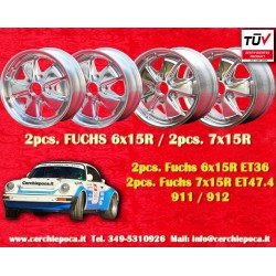 4 pcs. Fuchs Porsche 911R Small Body 2 pcs. 6x15 ET36 + 2 pcs. 7x15 ET47.4 Deep Six polished wheels