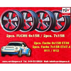 4 pcs. Fuchs Porsche 911R Small Body 2 pcs. 6x15 ET36 + 2 pcs. 7x15 ET47.4 Deep Six RSR style wheels