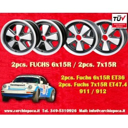 4 pcs. Fuchs Porsche 911R Small Body 2 pcs. 6x15 ET36 + 2 pcs. 7x15 ET47.4 Deep Six RSR anodized style wheels