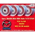 4 Stk. Felgen Mazda MX5 NB/NA BBS Style 7x15 ET24 4x100