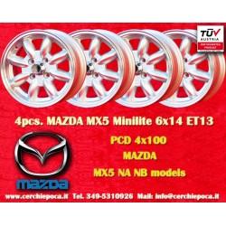 4 pcs. jantes Mazda Minilite 6x14 ET13 4x100