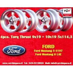 4 pcs.  jantes Ford Mustang Torq Thrust style 2 pcs. 9x19 ET35 + 2 pcs. 10x19  ET42  5x114.3  silver/polished
