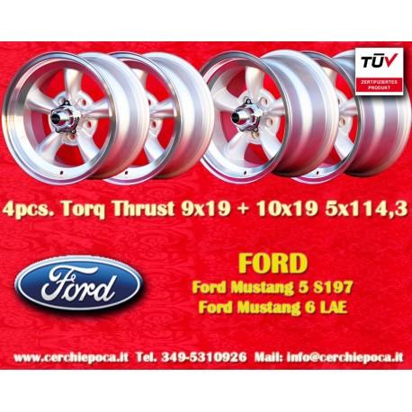 4 pcs.  Ford Mustang Torq Thrust style 2 pcs. 9x19 ET35 + 2 pcs. 10x19 ET42  5x114.3 wheels silver/polished