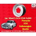 1 pc. Porsche 356 A B VW Beetle 5.5x16 ET20 PCD 5x205 steel wheel