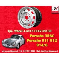 1 pz. llanta Porsche 356C 911 912 914 llantas de acero 4.5x15