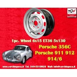 1 pz. llanta Porsche 911 912 914 llantas de acero 6x15