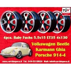 4 Stk. Felgen Volkswagen Beetle Karmann Ghia Baby Fuchs 5.5x15 ET35 Lk. 4x130