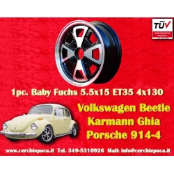 4 pcs. Cerchi Volkswagen Beetle Karmann Ghia Baby Fuchs 5.5x15 ET35 PCD 4x130