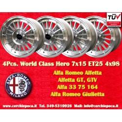 4 Cerchi in Lega Leggera 7x15 ET25 4x98  style per Alfa Romeo by Davide Cironi