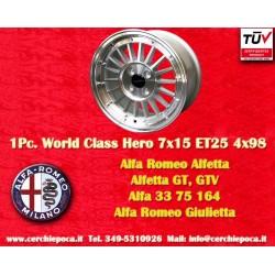 1 Cerchio in Lega Leggera 7x15 ET25 4x98  style per Alfa Romeo by Davide Cironi