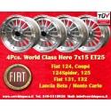 4 pcs llantas 7x15 ET25 4x98 Fiat 124/131, Spider, 125, X1/9, 131, 132