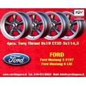 4 pcs. Ford Mustang Torq Thrust style 9x19 ET35 5x114.3 anthracite/finish wheels