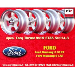 4 pcs. Ford Mustang Torq Thrust style 9x19 ET45 5x114.3 anthracite/finish wheels